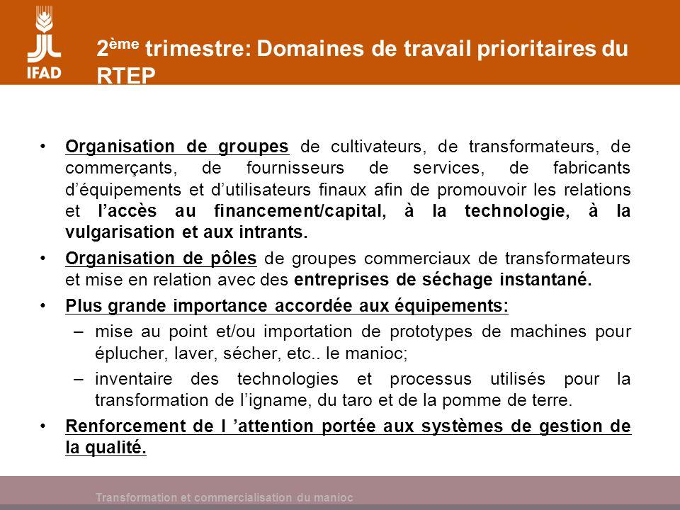 Cassava processing and marketing 2 ème trimestre: Domaines de travail prioritaires du RTEP Organisation de groupes de cultivateurs, de transformateurs