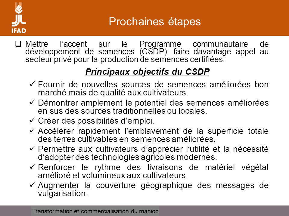 Cassava processing and marketing Prochaines étapes Mettre laccent sur le Programme communautaire de développement de semences (CSDP): faire davantage
