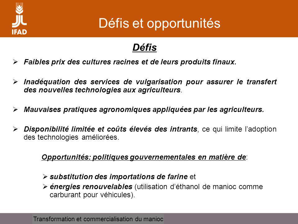 Cassava processing and marketing Défis et opportunités Défis Faibles prix des cultures racines et de leurs produits finaux. Inadéquation des services