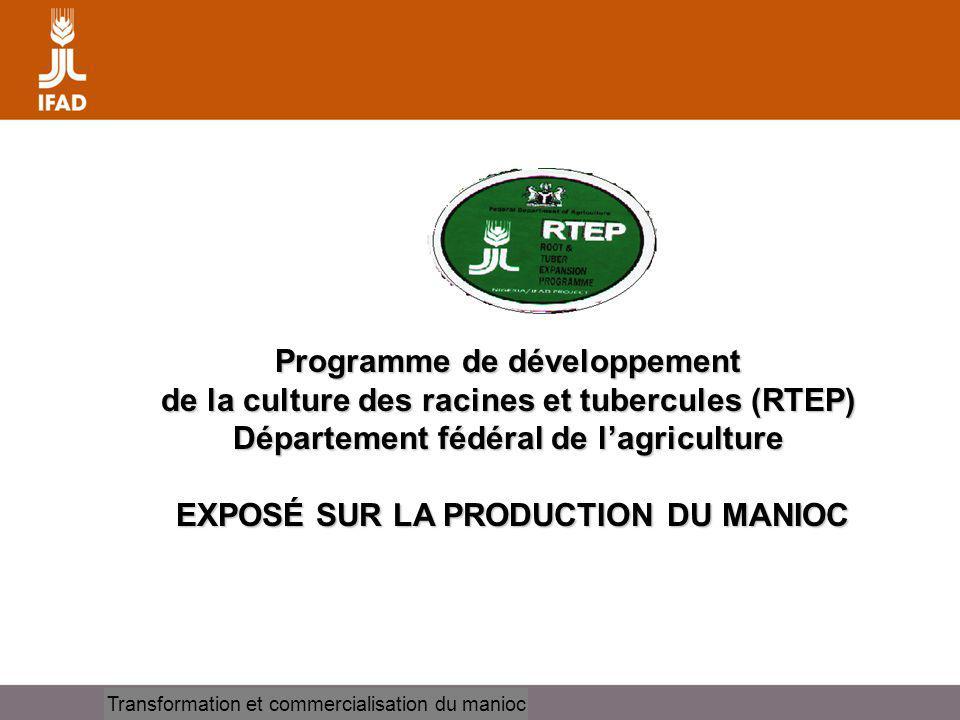Cassava processing and marketing Programme de développement de la culture des racines et tubercules (RTEP) Département fédéral de lagriculture EXPOSÉ