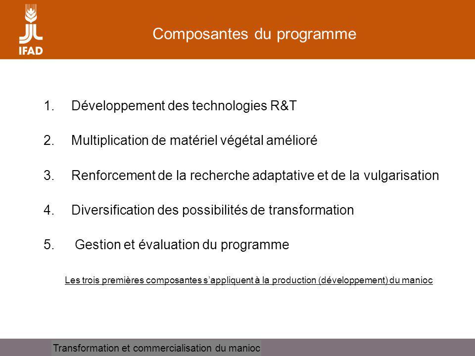 Cassava processing and marketing Composantes du programme 1.Développement des technologies R&T 2.Multiplication de matériel végétal amélioré 3.Renforcement de la recherche adaptative et de la vulgarisation 4.Diversification des possibilités de transformation 5.
