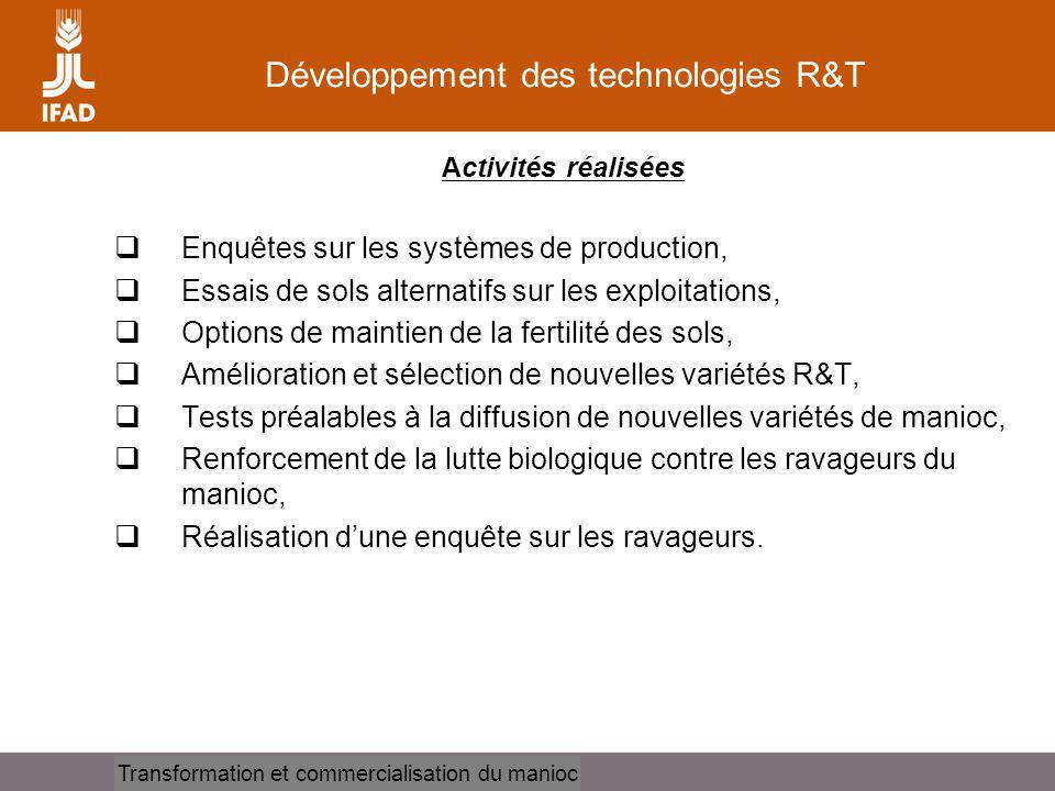 Cassava processing and marketing Développement des technologies R&T Activités réalisées Enquêtes sur les systèmes de production, Essais de sols altern