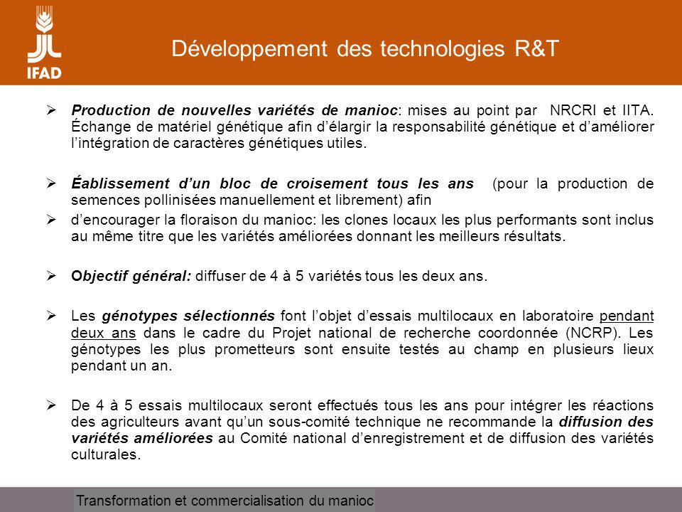 Cassava processing and marketing Développement des technologies R&T Production de nouvelles variétés de manioc: mises au point par NRCRI et IITA. Écha