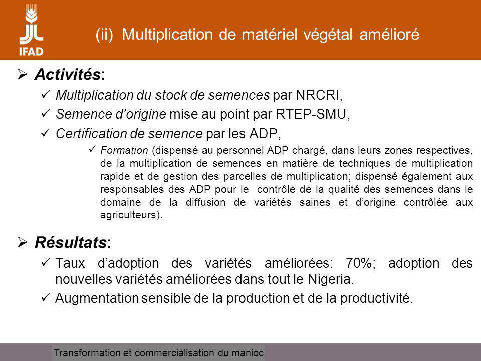 Cassava processing and marketing Stratégies Adoption de deux stratégies pour assurer une disponibilité suffisante de matériel végétal: intervention directe des ADP au niveau des exploitations et programmes daide aux petits cultivateurs (individuels ou par le biais dassociations de producteurs -CBSPA).