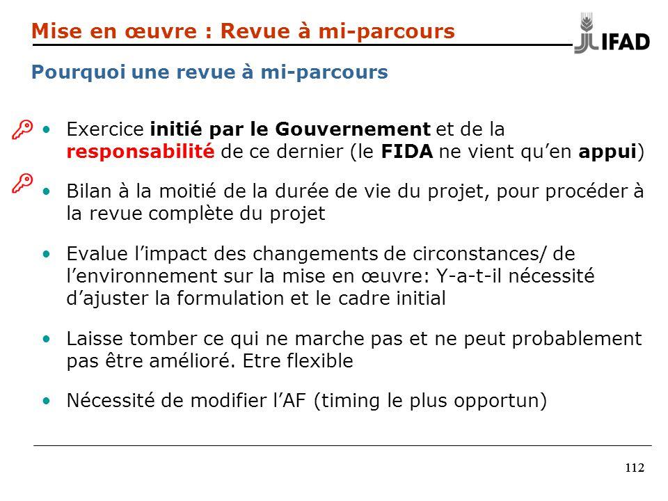 112 Exercice initié par le Gouvernement et de la responsabilité de ce dernier (le FIDA ne vient quen appui) Bilan à la moitié de la durée de vie du pr