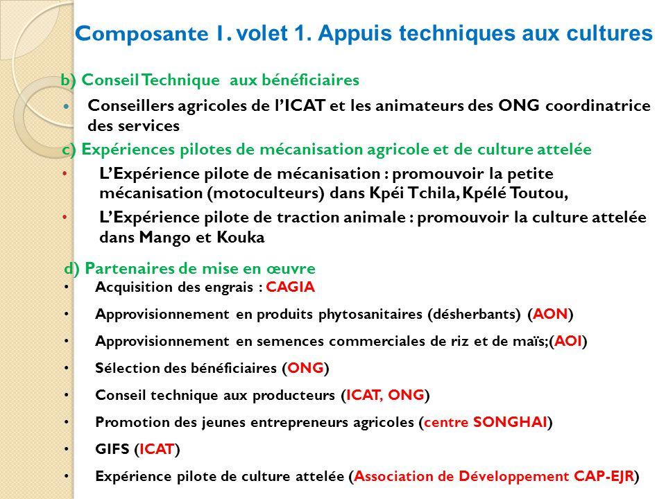 b) Conseil Technique aux bénéficiaires Conseillers agricoles de lICAT et les animateurs des ONG coordinatrice des services Composante 1.