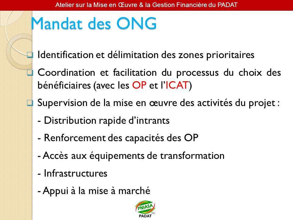 Mandat des ONG Identification et délimitation des zones prioritaires Coordination et facilitation du processus du choix des bénéficiaires (avec les OP et lICAT) Supervision de la mise en œuvre des activités du projet : - Distribution rapide dintrants - Renforcement des capacités des OP - Accès aux équipements de transformation - Infrastructures - Appui à la mise à marché Atelier sur la Mise en Œuvre & la Gestion Financière du PADAT