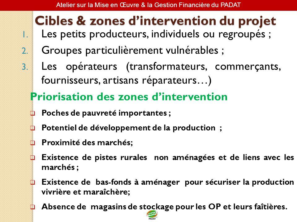 Cibles & zones dintervention du projet 1.Les petits producteurs, individuels ou regroupés ; 2.