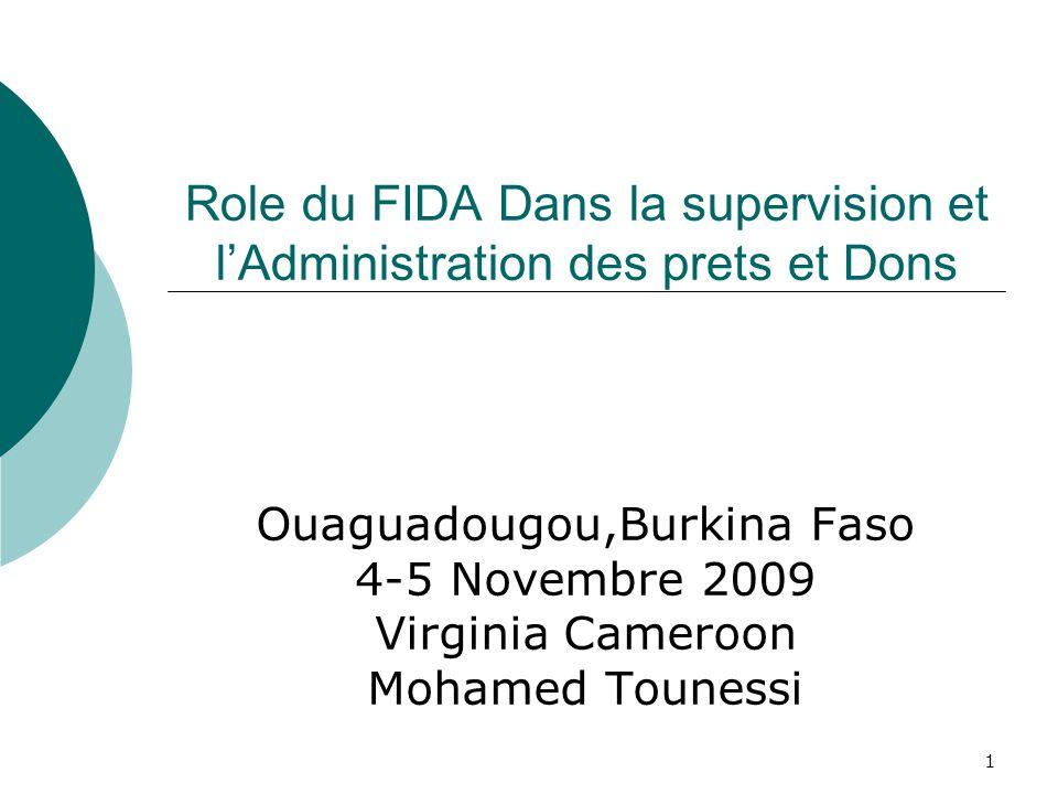 1 Role du FIDA Dans la supervision et lAdministration des prets et Dons Ouaguadougou,Burkina Faso 4-5 Novembre 2009 Virginia Cameroon Mohamed Tounessi