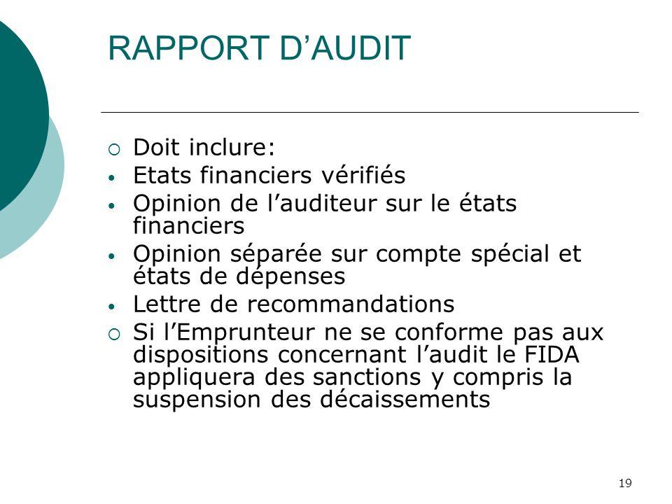 19 RAPPORT DAUDIT Doit inclure: Etats financiers vérifiés Opinion de lauditeur sur le états financiers Opinion séparée sur compte spécial et états de