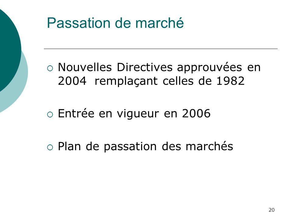 20 Passation de marché Nouvelles Directives approuvées en 2004 remplaçant celles de 1982 Entrée en vigueur en 2006 Plan de passation des marchés