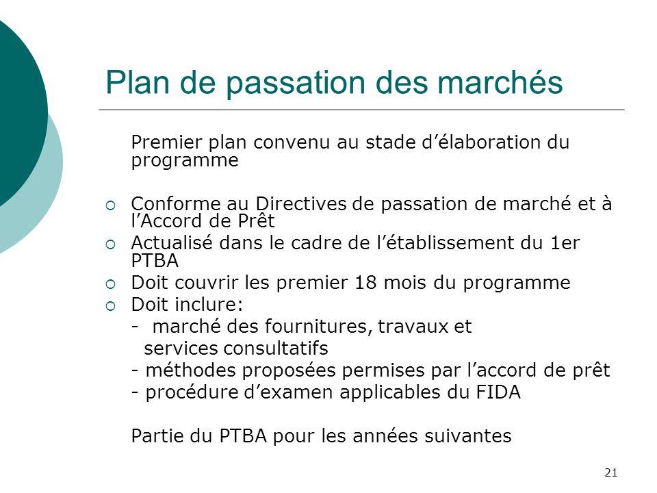 21 Plan de passation des marchés Premier plan convenu au stade délaboration du programme Conforme au Directives de passation de marché et à lAccord de