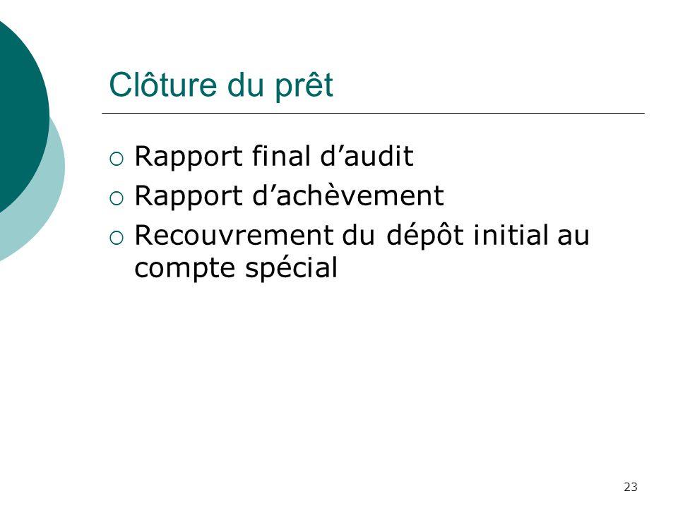 23 Clôture du prêt Rapport final daudit Rapport dachèvement Recouvrement du dépôt initial au compte spécial