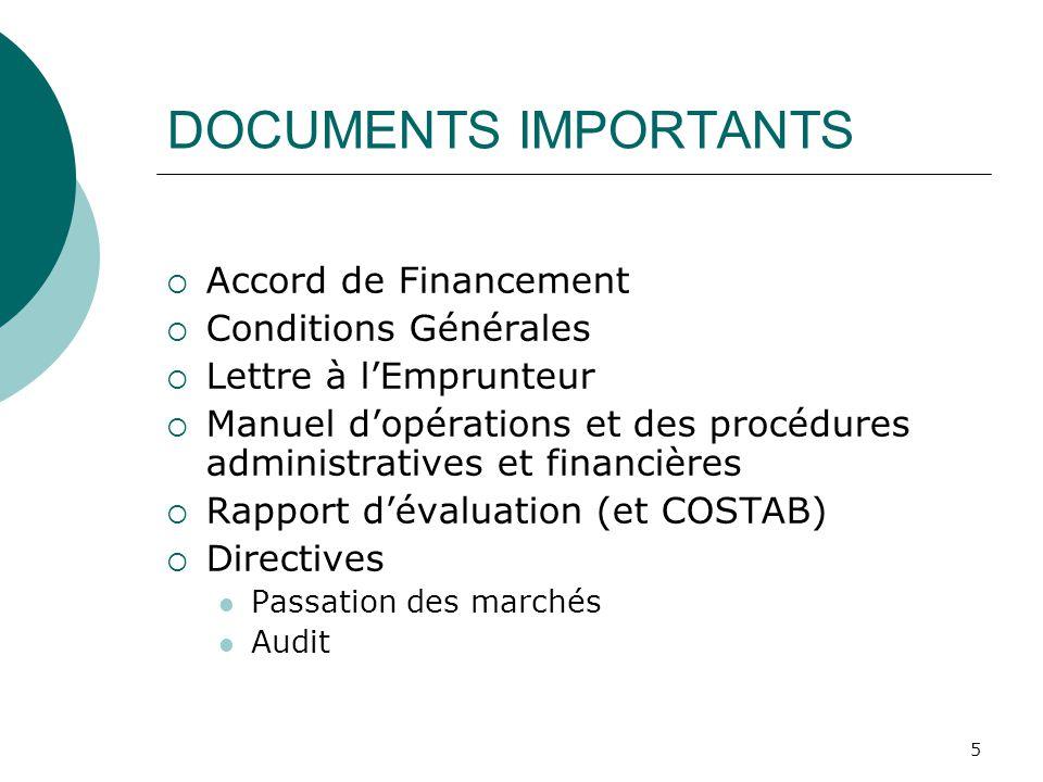 5 DOCUMENTS IMPORTANTS Accord de Financement Conditions Générales Lettre à lEmprunteur Manuel dopérations et des procédures administratives et financi