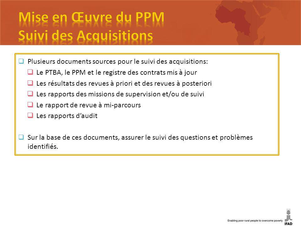 Plusieurs documents sources pour le suivi des acquisitions: Le PTBA, le PPM et le registre des contrats mis à jour Les résultats des revues à priori e
