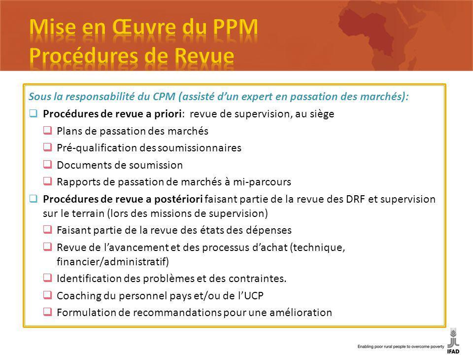 Sous la responsabilité du CPM (assisté dun expert en passation des marchés): Procédures de revue a priori: revue de supervision, au siège Plans de pas