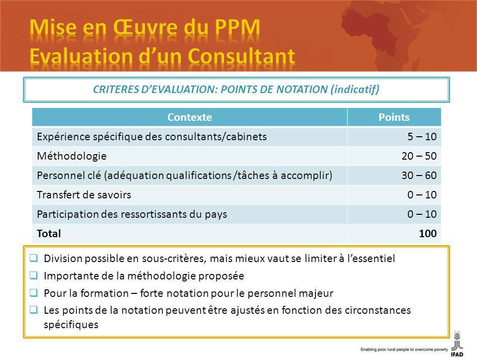 CRITERES DEVALUATION: POINTS DE NOTATION (indicatif) ContextePoints Expérience spécifique des consultants/cabinets5 – 10 Méthodologie20 – 50 Personnel