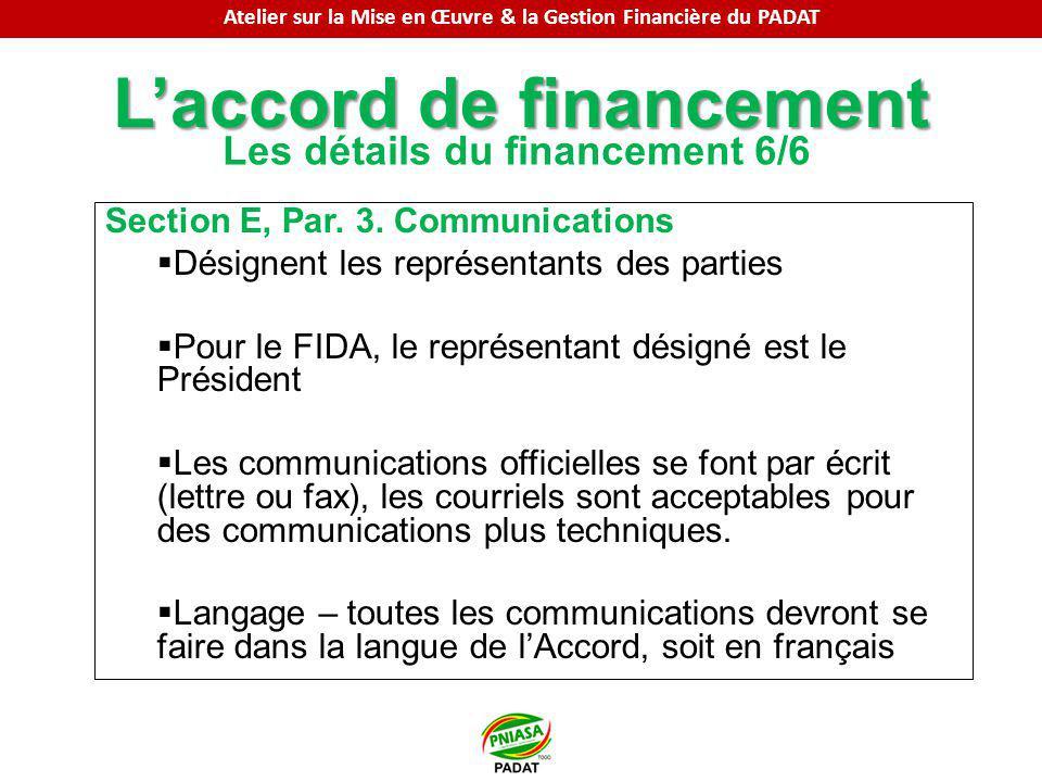 Laccord de financement Les détails du financement 6/6 Section E, Par. 3. Communications Désignent les représentants des parties Pour le FIDA, le repré