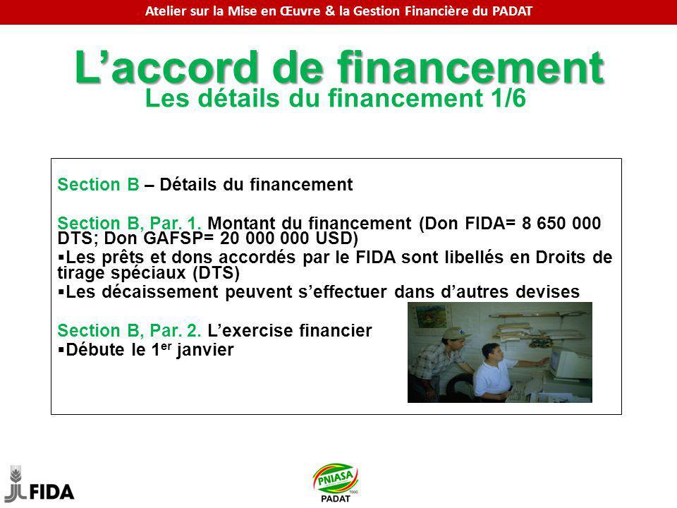 Laccord de financement Les détails du financement 1/6 Section B – Détails du financement Section B, Par. 1. Montant du financement (Don FIDA= 8 650 00