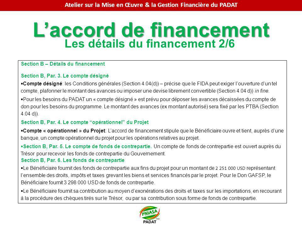Laccord de financement Les détails du financement 2/6 Section B – Détails du financement Section B, Par. 3. Le compte désigné Compte désigné: les Cond
