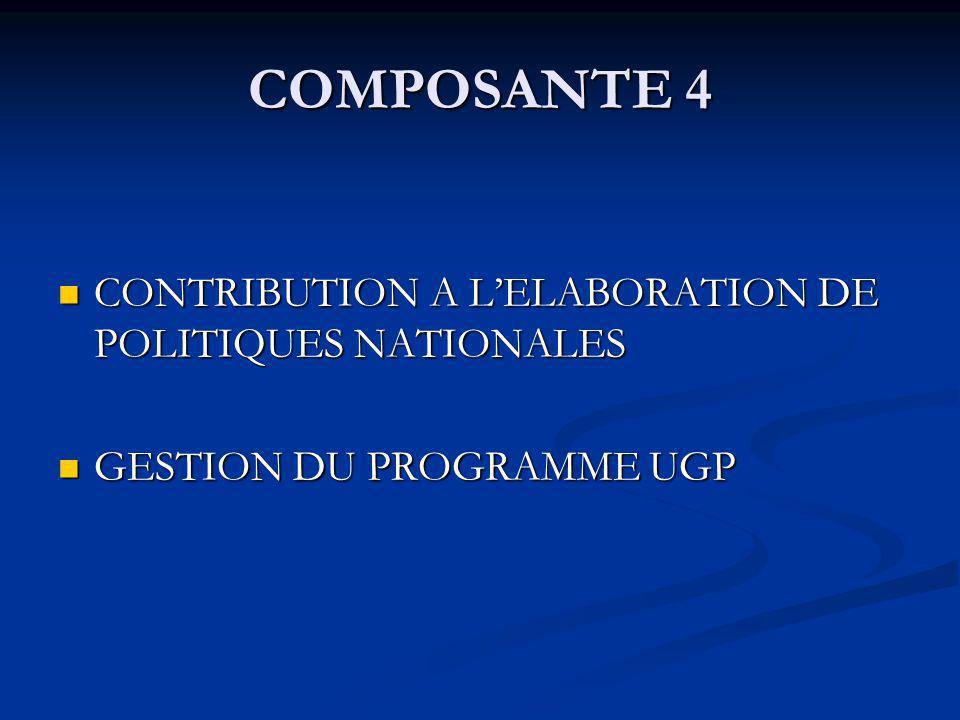 COMPOSANTE 4 CONTRIBUTION A LELABORATION DE POLITIQUES NATIONALES CONTRIBUTION A LELABORATION DE POLITIQUES NATIONALES GESTION DU PROGRAMME UGP GESTION DU PROGRAMME UGP