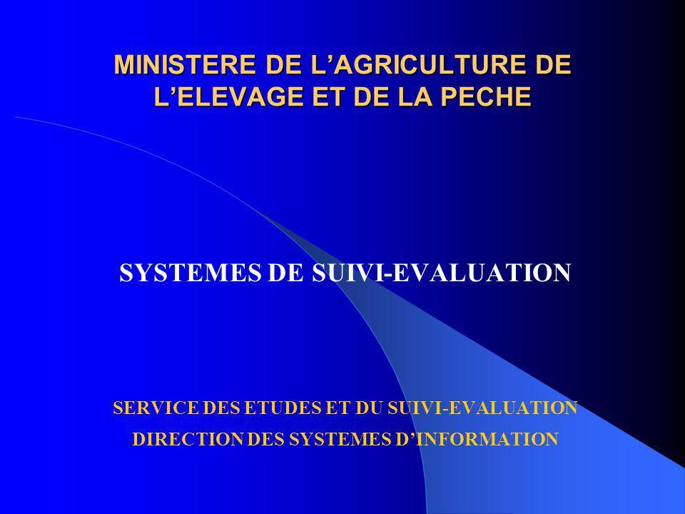 MINISTERE DE LAGRICULTURE DE LELEVAGE ET DE LA PECHE SYSTEMES DE SUIVI-EVALUATION SERVICE DES ETUDES ET DU SUIVI-EVALUATION DIRECTION DES SYSTEMES DINFORMATION