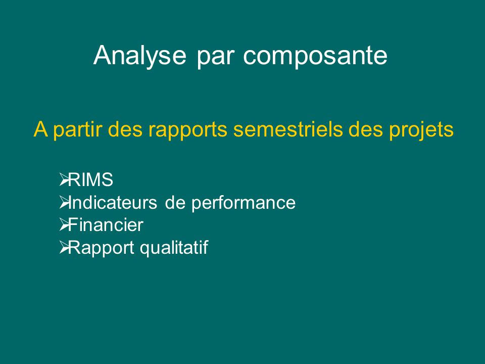 Analyse par composante A partir des rapports semestriels des projets RIMS Indicateurs de performance Financier Rapport qualitatif