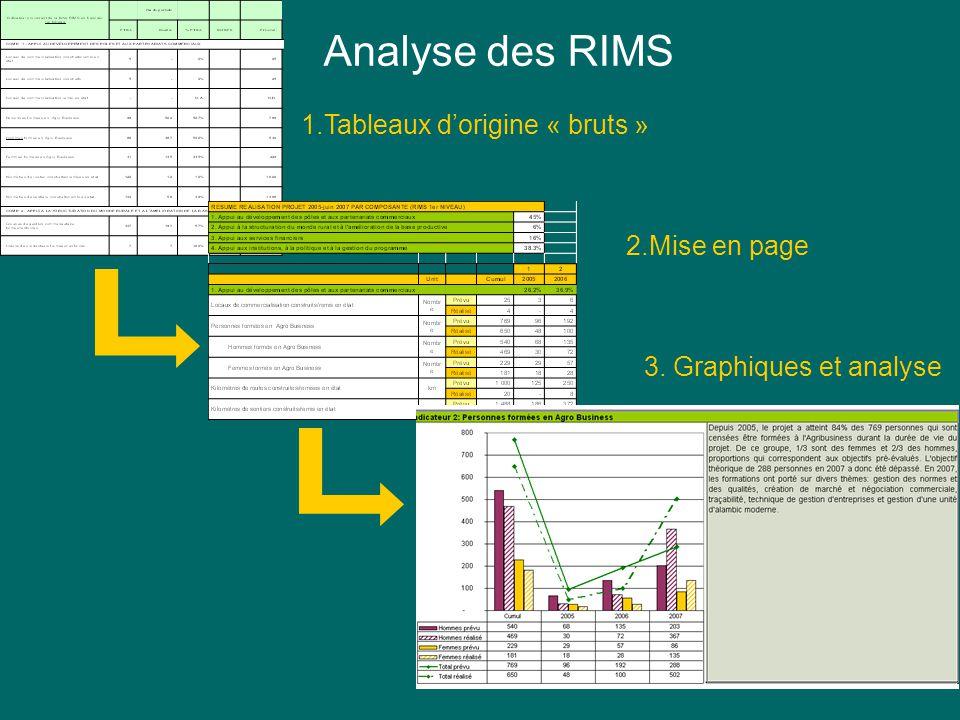 Indicateur 2: Personnes formées en Agro Business 1.Tableaux dorigine « bruts » 2.Mise en page 3. Graphiques et analyse Analyse des RIMS