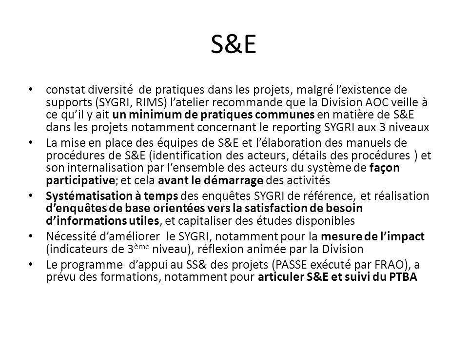 S&E constat diversité de pratiques dans les projets, malgré lexistence de supports (SYGRI, RIMS) latelier recommande que la Division AOC veille à ce quil y ait un minimum de pratiques communes en matière de S&E dans les projets notamment concernant le reporting SYGRI aux 3 niveaux La mise en place des équipes de S&E et lélaboration des manuels de procédures de S&E (identification des acteurs, détails des procédures ) et son internalisation par lensemble des acteurs du système de façon participative; et cela avant le démarrage des activités Systématisation à temps des enquêtes SYGRI de référence, et réalisation denquêtes de base orientées vers la satisfaction de besoin dinformations utiles, et capitaliser des études disponibles Nécessité daméliorer le SYGRI, notamment pour la mesure de limpact (indicateurs de 3 ème niveau), réflexion animée par la Division Le programme dappui au SS& des projets (PASSE exécuté par FRAO), a prévu des formations, notamment pour articuler S&E et suivi du PTBA