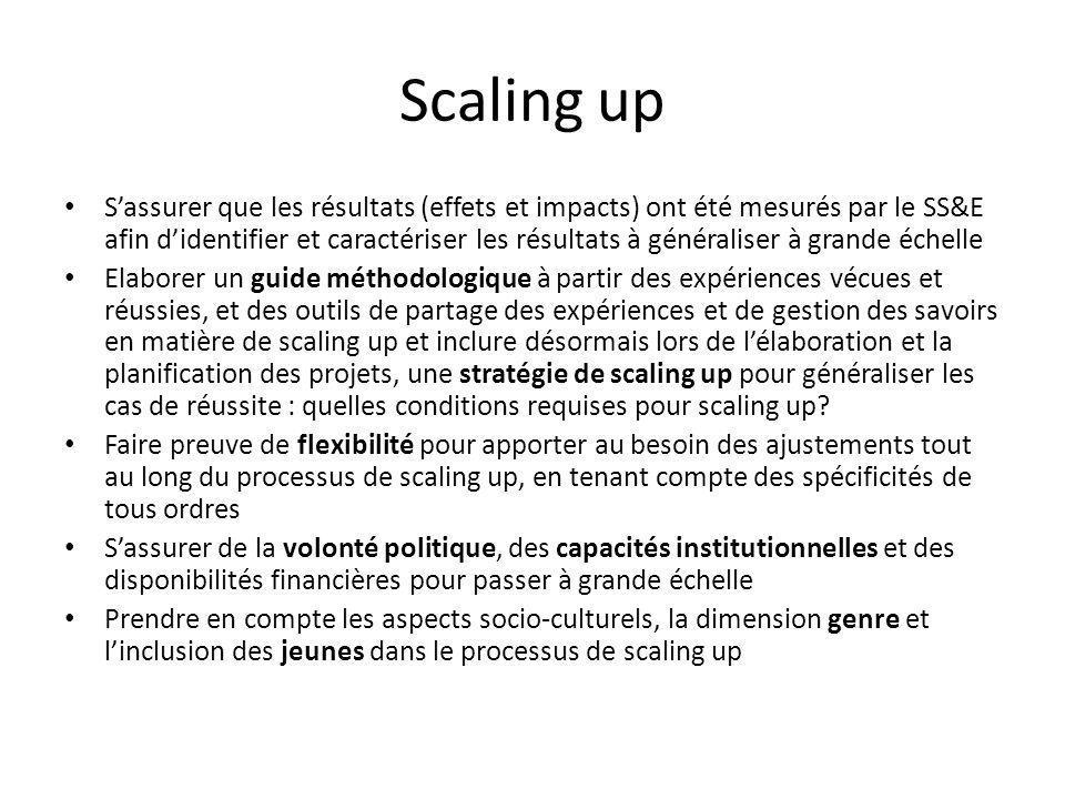 Scaling up Sassurer que les résultats (effets et impacts) ont été mesurés par le SS&E afin didentifier et caractériser les résultats à généraliser à grande échelle Elaborer un guide méthodologique à partir des expériences vécues et réussies, et des outils de partage des expériences et de gestion des savoirs en matière de scaling up et inclure désormais lors de lélaboration et la planification des projets, une stratégie de scaling up pour généraliser les cas de réussite : quelles conditions requises pour scaling up.