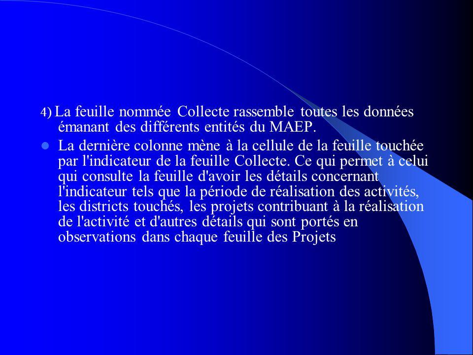 4) La feuille nommée Collecte rassemble toutes les données émanant des différents entités du MAEP.