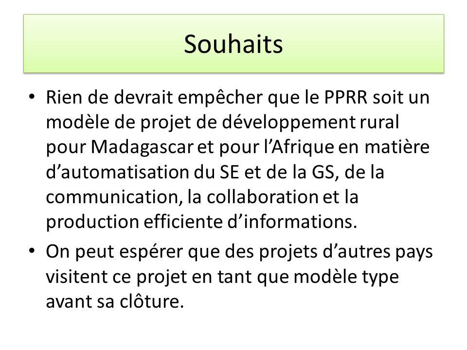 Souhaits Rien de devrait empêcher que le PPRR soit un modèle de projet de développement rural pour Madagascar et pour lAfrique en matière dautomatisation du SE et de la GS, de la communication, la collaboration et la production efficiente dinformations.