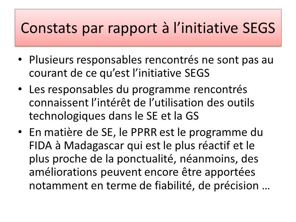 Constats par rapport à linitiative SEGS Plusieurs responsables rencontrés ne sont pas au courant de ce quest linitiative SEGS Les responsables du programme rencontrés connaissent lintérêt de lutilisation des outils technologiques dans le SE et la GS En matière de SE, le PPRR est le programme du FIDA à Madagascar qui est le plus réactif et le plus proche de la ponctualité, néanmoins, des améliorations peuvent encore être apportées notamment en terme de fiabilité, de précision …