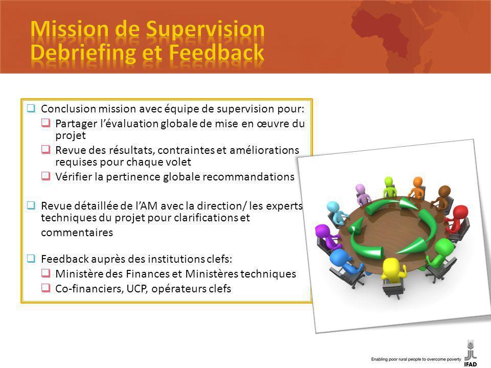Conclusion mission avec équipe de supervision pour: Partager lévaluation globale de mise en œuvre du projet Revue des résultats, contraintes et amélio