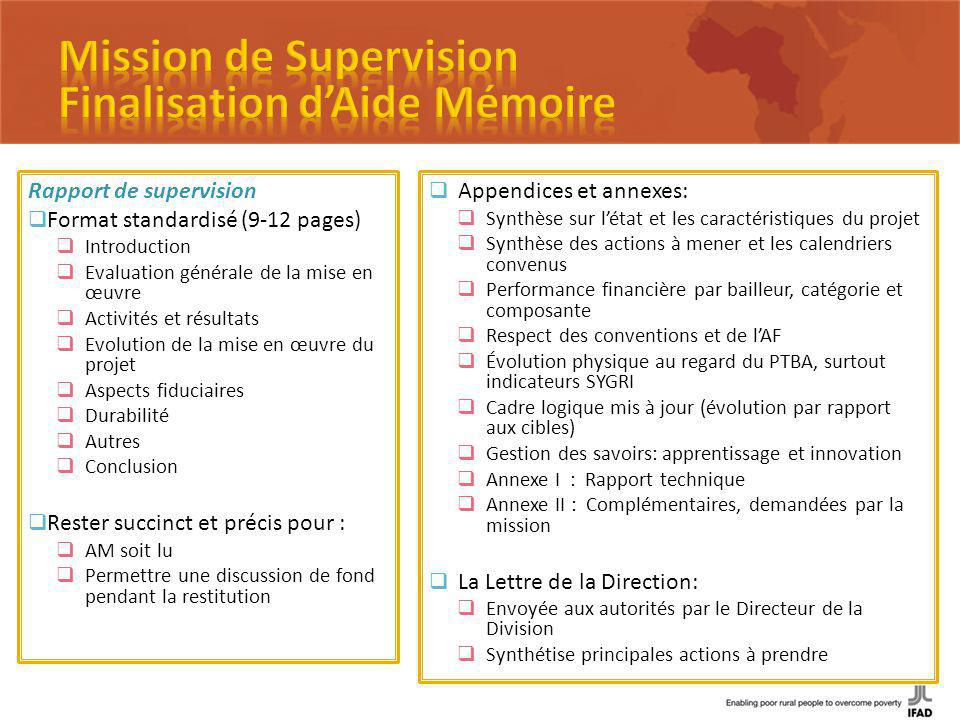 Rapport de supervision Format standardisé (9-12 pages) Introduction Evaluation générale de la mise en œuvre Activités et résultats Evolution de la mis