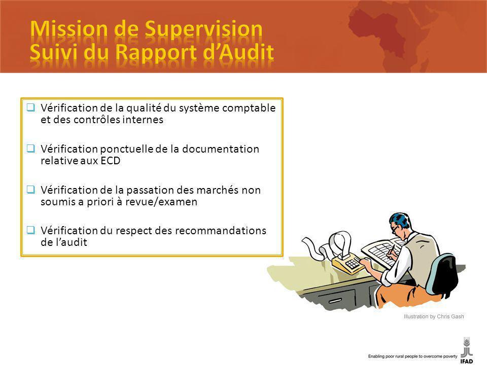 Vérification de la qualité du système comptable et des contrôles internes Vérification ponctuelle de la documentation relative aux ECD Vérification de