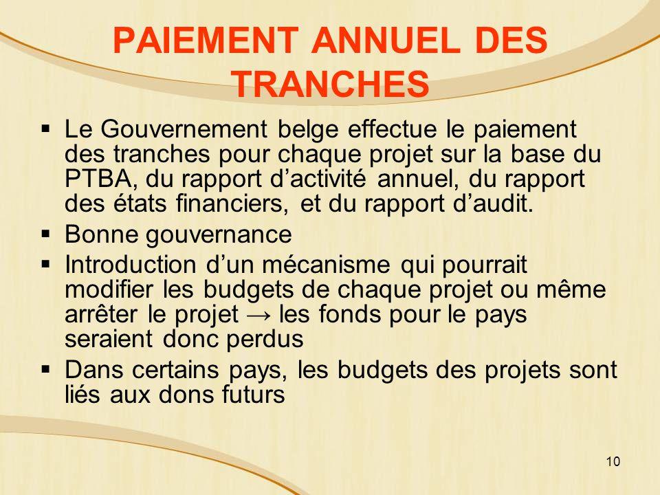 10 PAIEMENT ANNUEL DES TRANCHES Le Gouvernement belge effectue le paiement des tranches pour chaque projet sur la base du PTBA, du rapport dactivité annuel, du rapport des états financiers, et du rapport daudit.