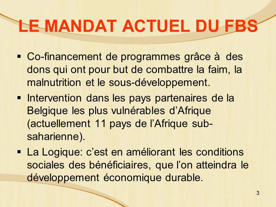 3 LE MANDAT ACTUEL DU FBS Co-financement de programmes grâce à des dons qui ont pour but de combattre la faim, la malnutrition et le sous-développement.