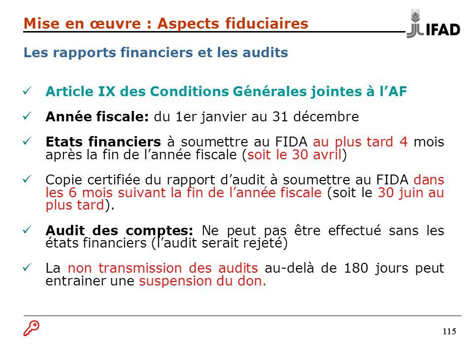 115 Article IX des Conditions Générales jointes à lAF Année fiscale: du 1er janvier au 31 décembre Etats financiers à soumettre au FIDA au plus tard 4 mois après la fin de lannée fiscale (soit le 30 avril) Copie certifiée du rapport daudit à soumettre au FIDA dans les 6 mois suivant la fin de lannée fiscale (soit le 30 juin au plus tard).