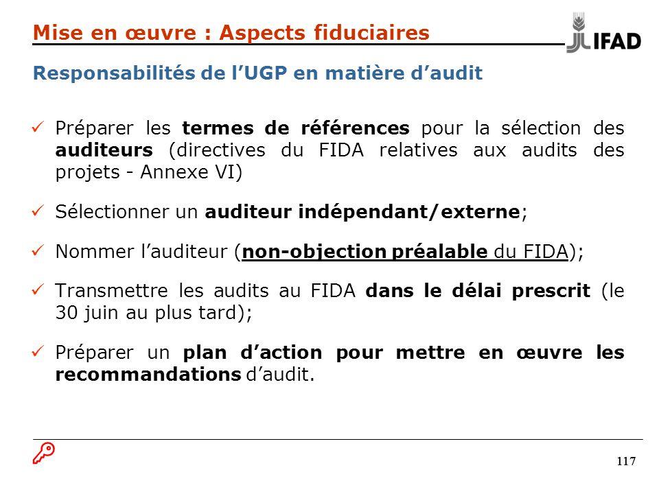 117 Préparer les termes de références pour la sélection des auditeurs (directives du FIDA relatives aux audits des projets - Annexe VI) Sélectionner un auditeur indépendant/externe; Nommer lauditeur (non-objection préalable du FIDA); Transmettre les audits au FIDA dans le délai prescrit (le 30 juin au plus tard); Préparer un plan daction pour mettre en œuvre les recommandations daudit.