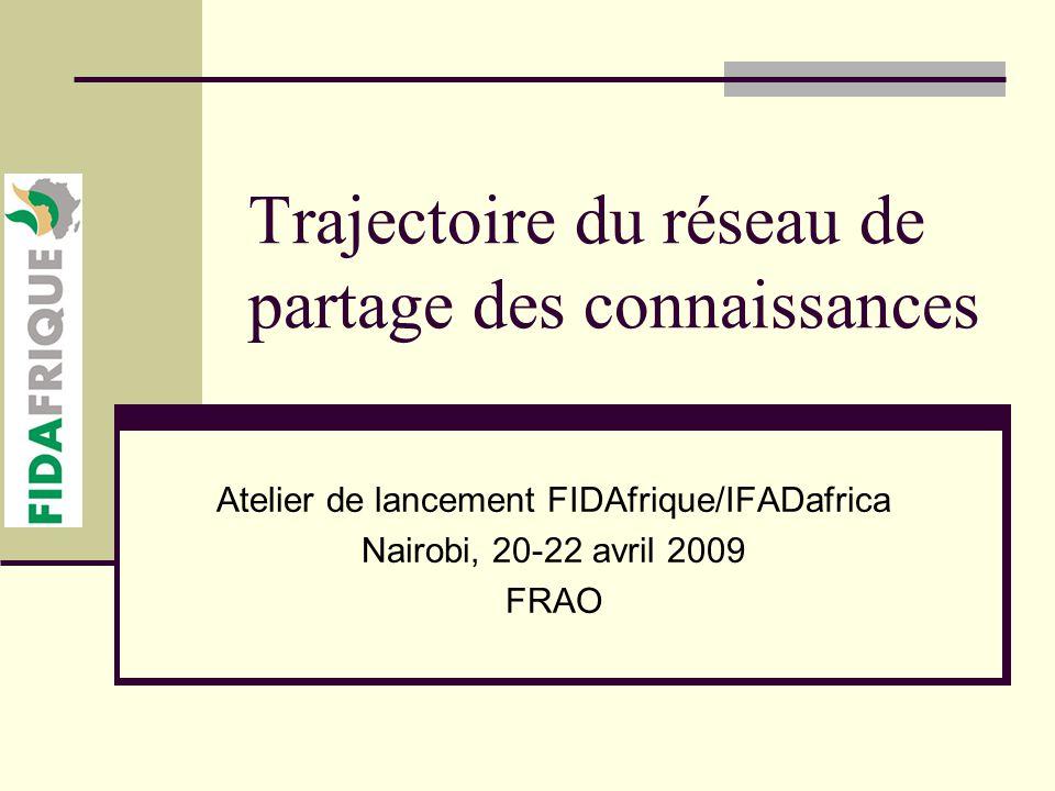 Trajectoire du réseau de partage des connaissances Atelier de lancement FIDAfrique/IFADafrica Nairobi, 20-22 avril 2009 FRAO