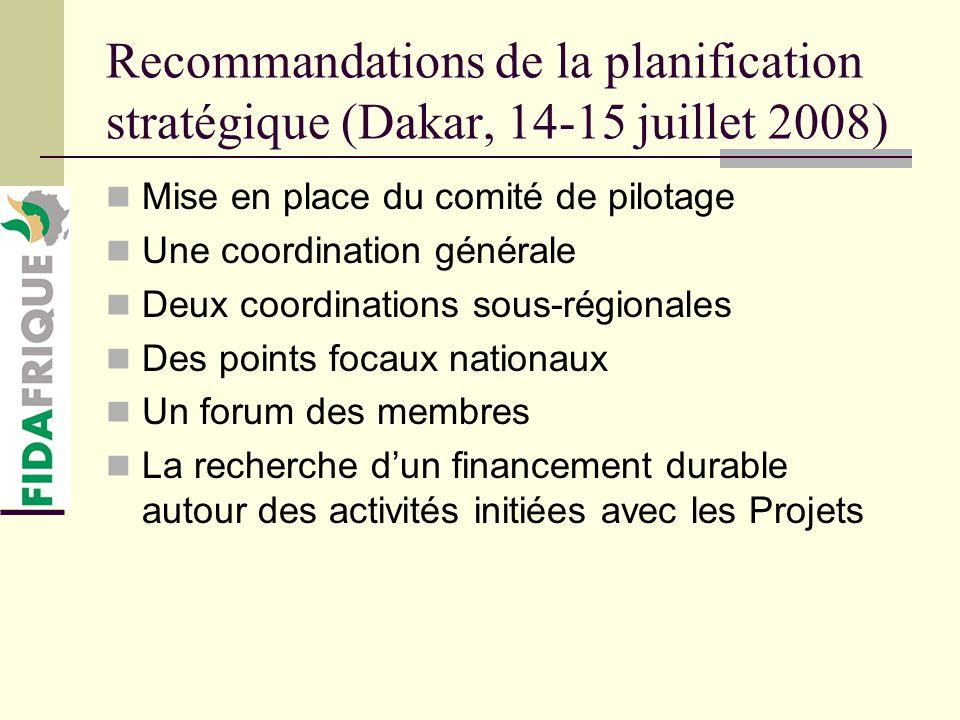 Recommandations de la planification stratégique (Dakar, 14-15 juillet 2008) Mise en place du comité de pilotage Une coordination générale Deux coordinations sous-régionales Des points focaux nationaux Un forum des membres La recherche dun financement durable autour des activités initiées avec les Projets