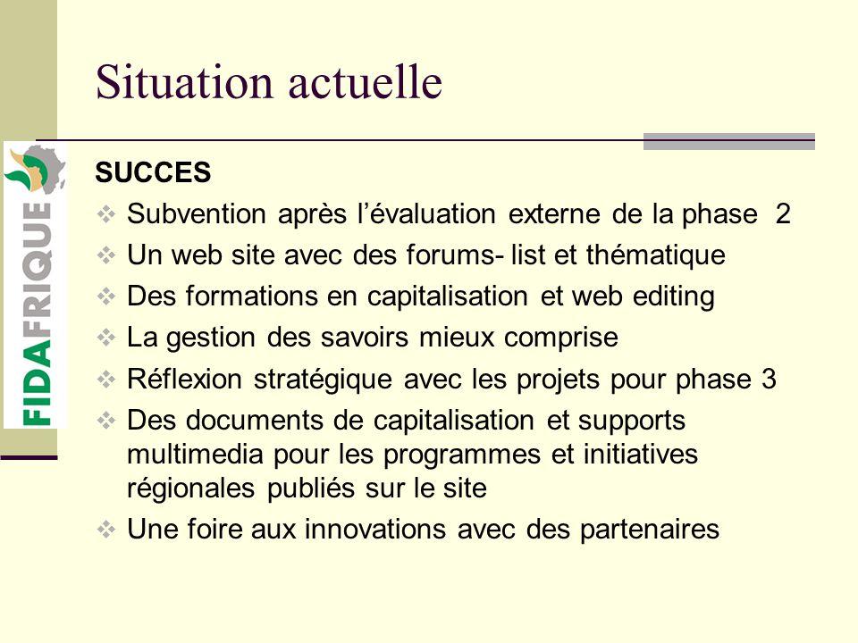 Situation actuelle SUCCES Un document méthodologique de capitalisation et déchanges Une douzaine de projets appuyés directement.