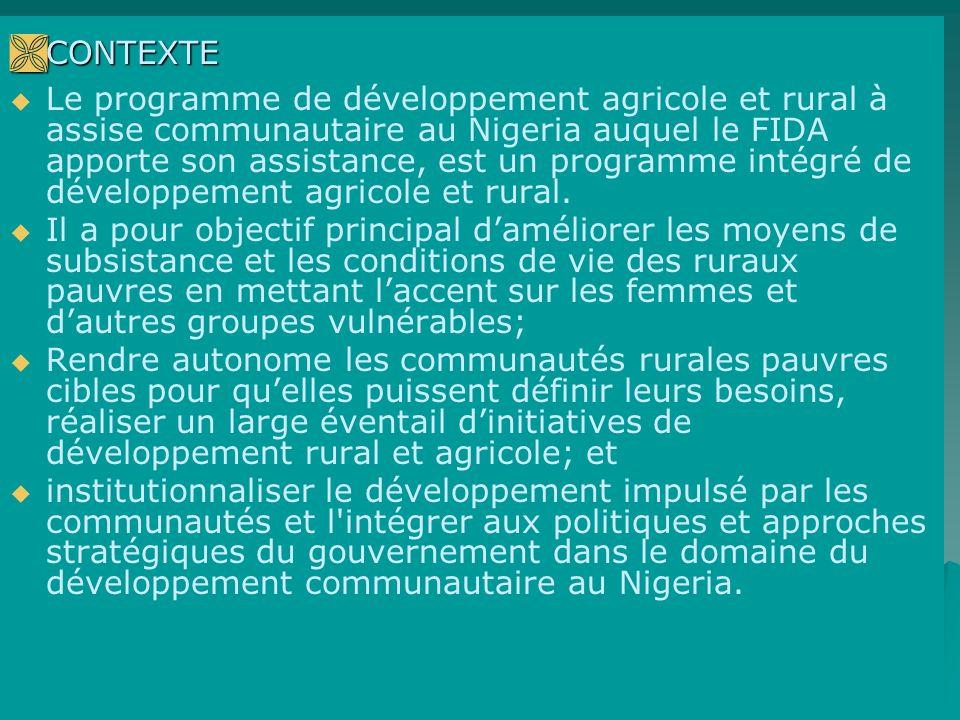 CONTEXTE CONTEXTE Le programme de développement agricole et rural à assise communautaire au Nigeria auquel le FIDA apporte son assistance, est un programme intégré de développement agricole et rural.