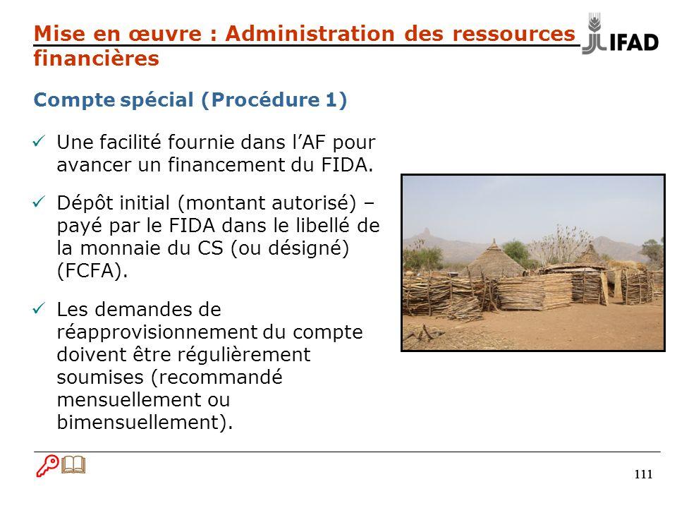 111 Une facilité fournie dans lAF pour avancer un financement du FIDA.