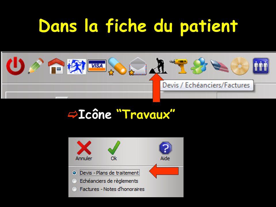 Dans la fiche du patient Icône Travaux