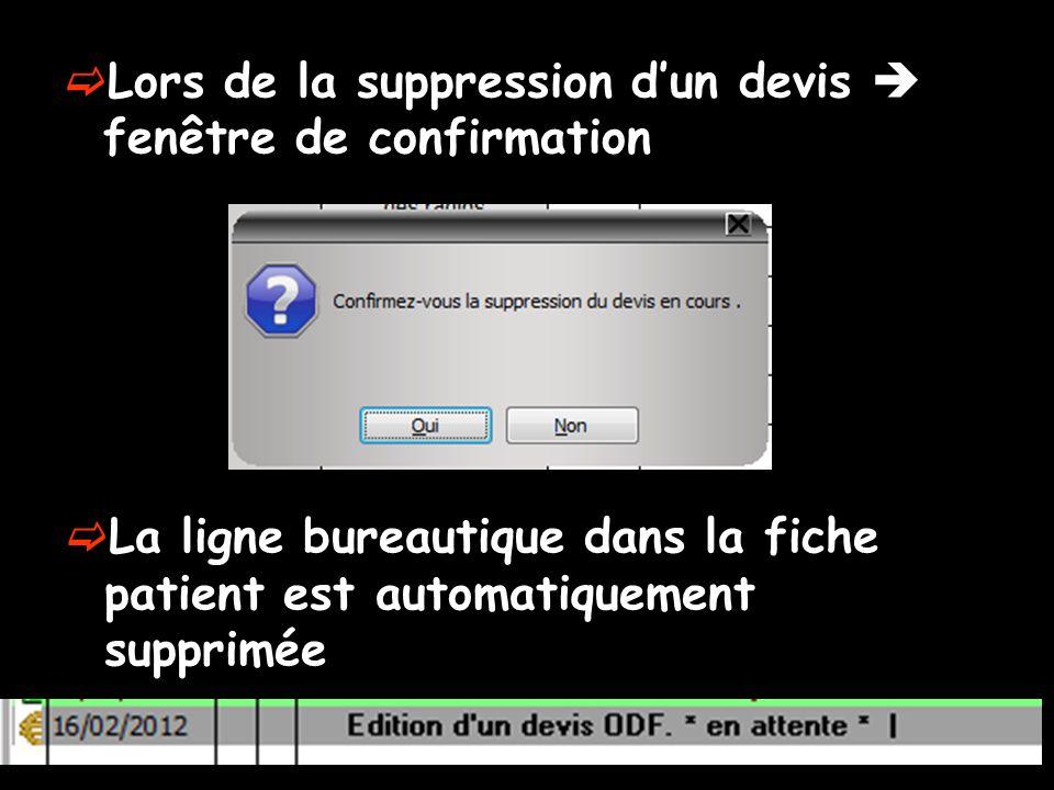 Lors de la suppression dun devis fenêtre de confirmation La ligne bureautique dans la fiche patient est automatiquement supprimée