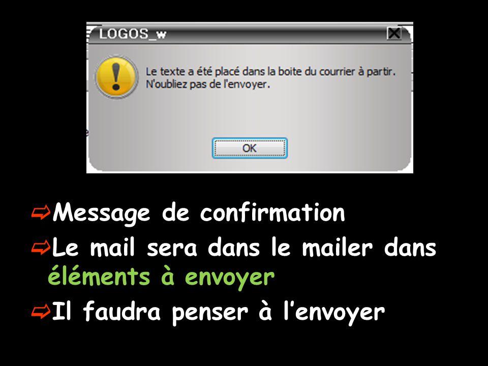 Message de confirmation Le mail sera dans le mailer dans éléments à envoyer Il faudra penser à lenvoyer