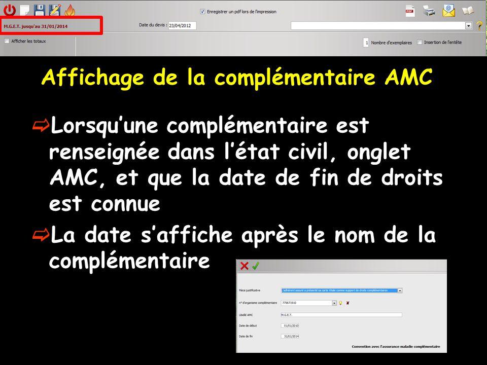 Affichage de la complémentaire AMC Un clic droit sur lAMC permet de modifier la complémentaire