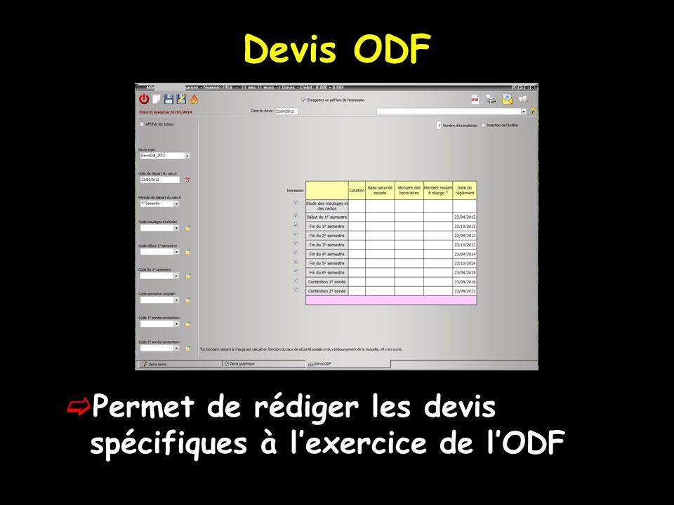 Devis ODF Permet de rédiger les devis spécifiques à lexercice de lODF